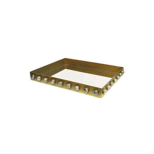 Brister Rectangle Brass Tray with Inset Mirror and Resin Appliques