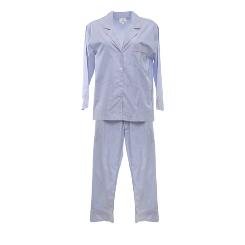 Blue Gingham PJ's with Pink Trim