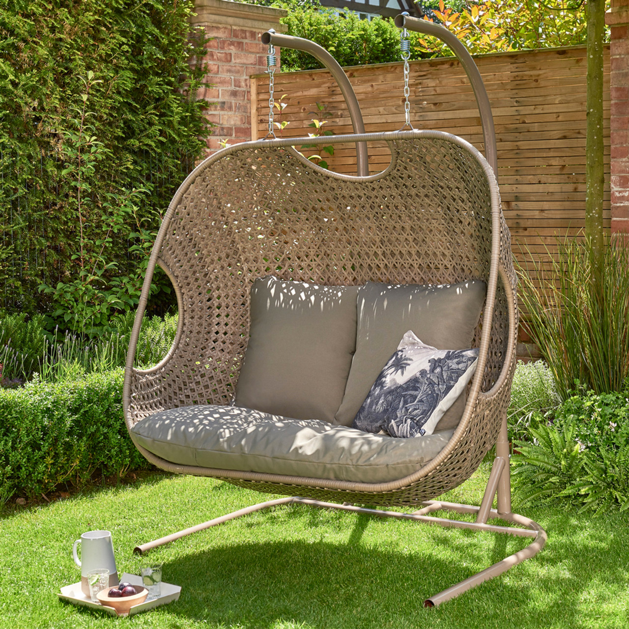 Goldcoast Double Hanging Chair Swing Beige Norfolk Leisure Qubox