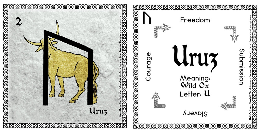 Uruz  Rune Stone Card of the Elder FUThARK Odin's Runes™