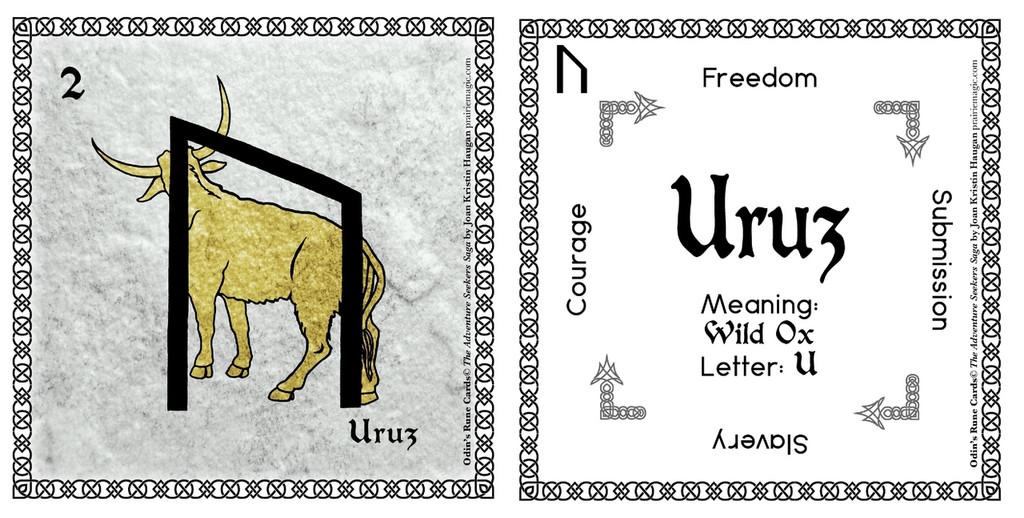 Uruz  Rune Stone Card of the Elder FUThARK Odin's Runes™