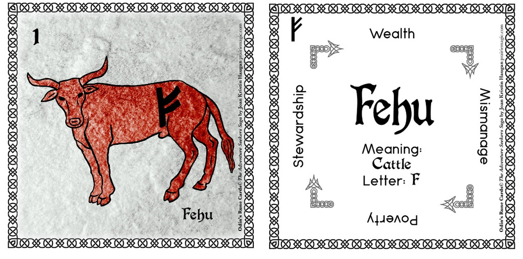Fehu  Rune Stone Card of the Elder FUThARK Odin's Runes™