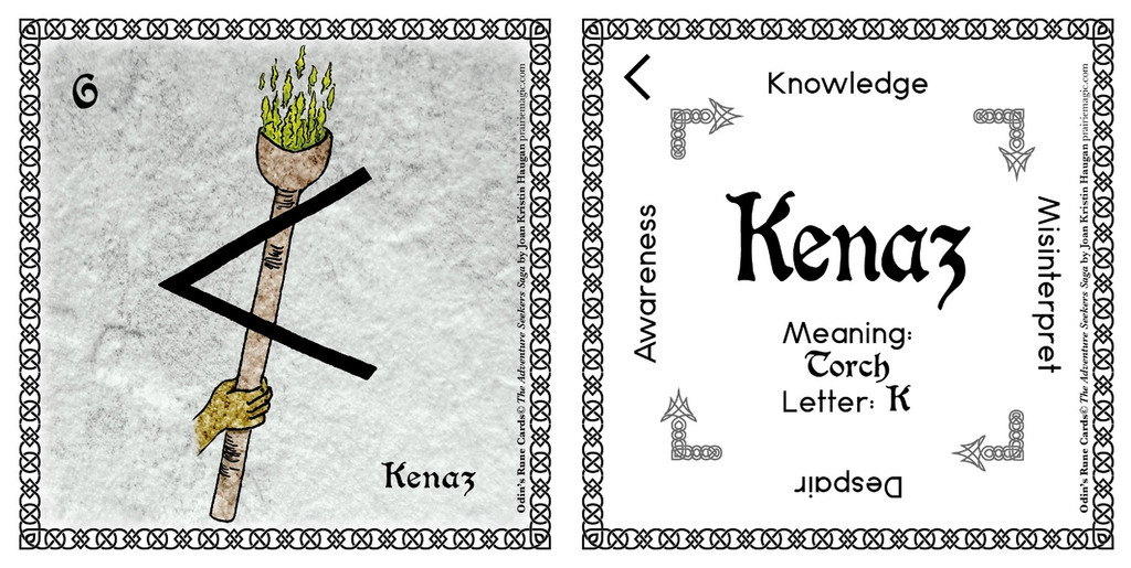 Kenaz Rune Stone Card of the Elder FUThARK Odin's Runes™