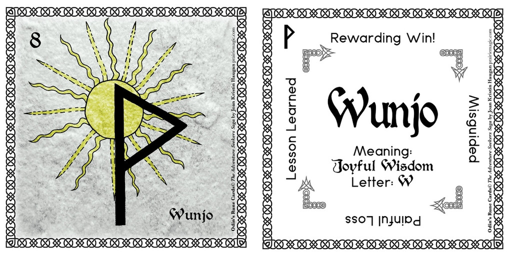 Wunjo Rune Stone Card of the Elder FUThARK Odin's Runes ™