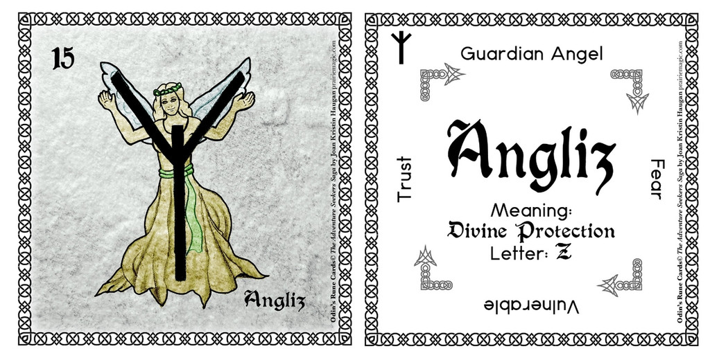 Angliz Rune Card front and back Odin's Runes™
