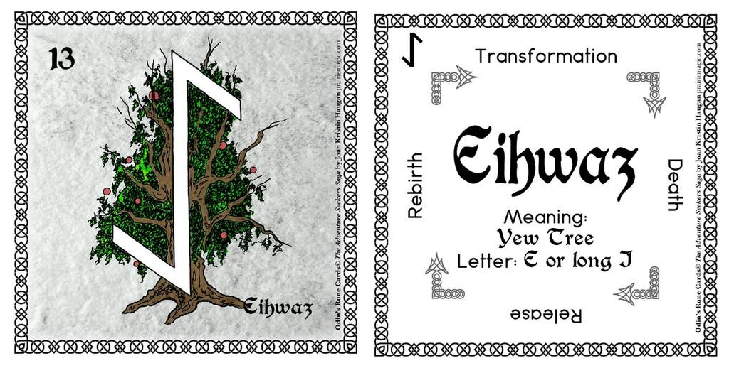 Eihwaz Rune Card front and back Odin's Runes™