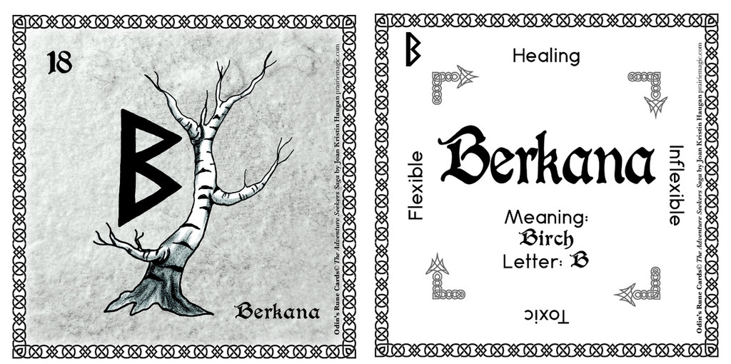 Berkana Rune Card front and back Odin's Runes™