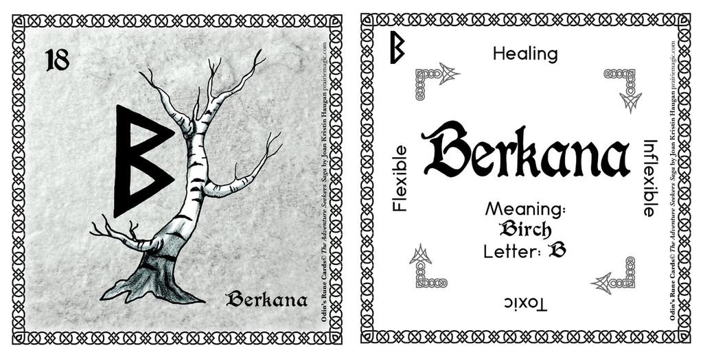 Berkana Rune Card front and back Odin's Runes™