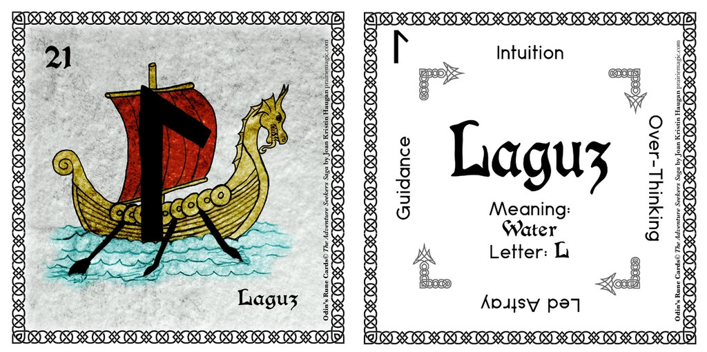 Laguz Rune Card front and back Odin's Runes™