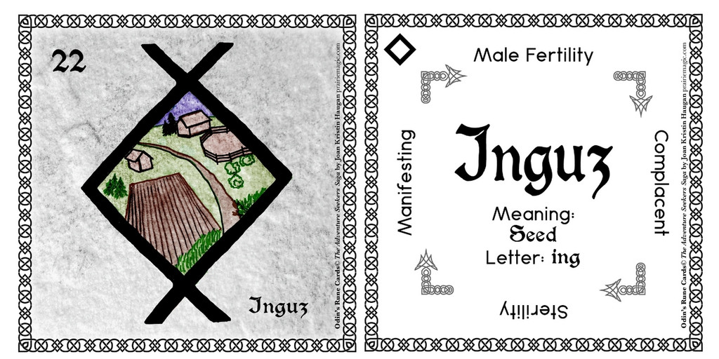 Inguz Rune Card front and back Odin's Runes™