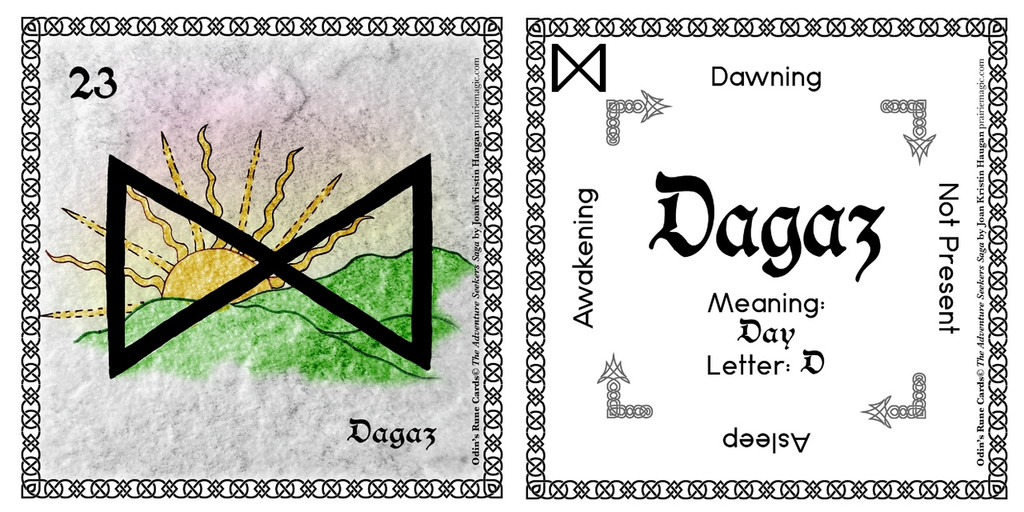 Dagaz Rune Card front and back Odin's Runes™
