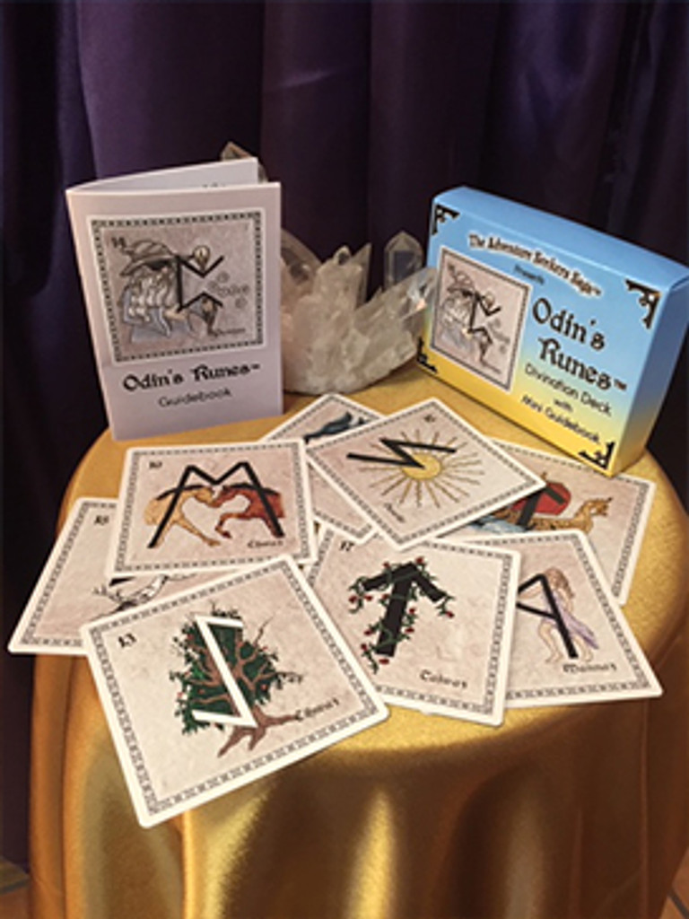 Odin's Runes, a 25-card deck with Rune meanings on both sides of the card. Includes tuck box and mini-guide book.