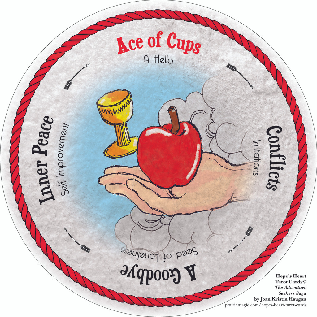 1 (Ace) of Cups - the round Hope's Heart Tarot™ deck