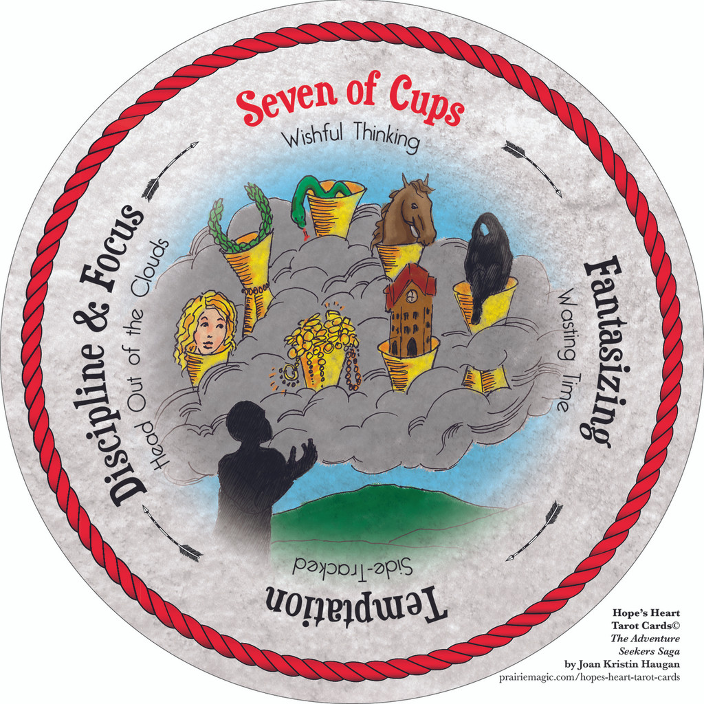 Seven of Cups  - the round Hope's Heart Tarot™ deck