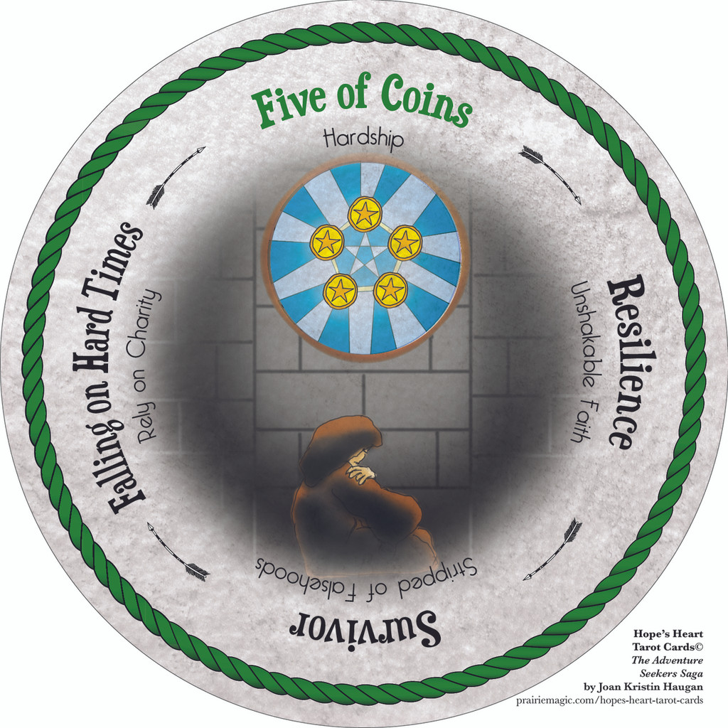 Five of Coins - the round Hope's Heart Tarot™ deck