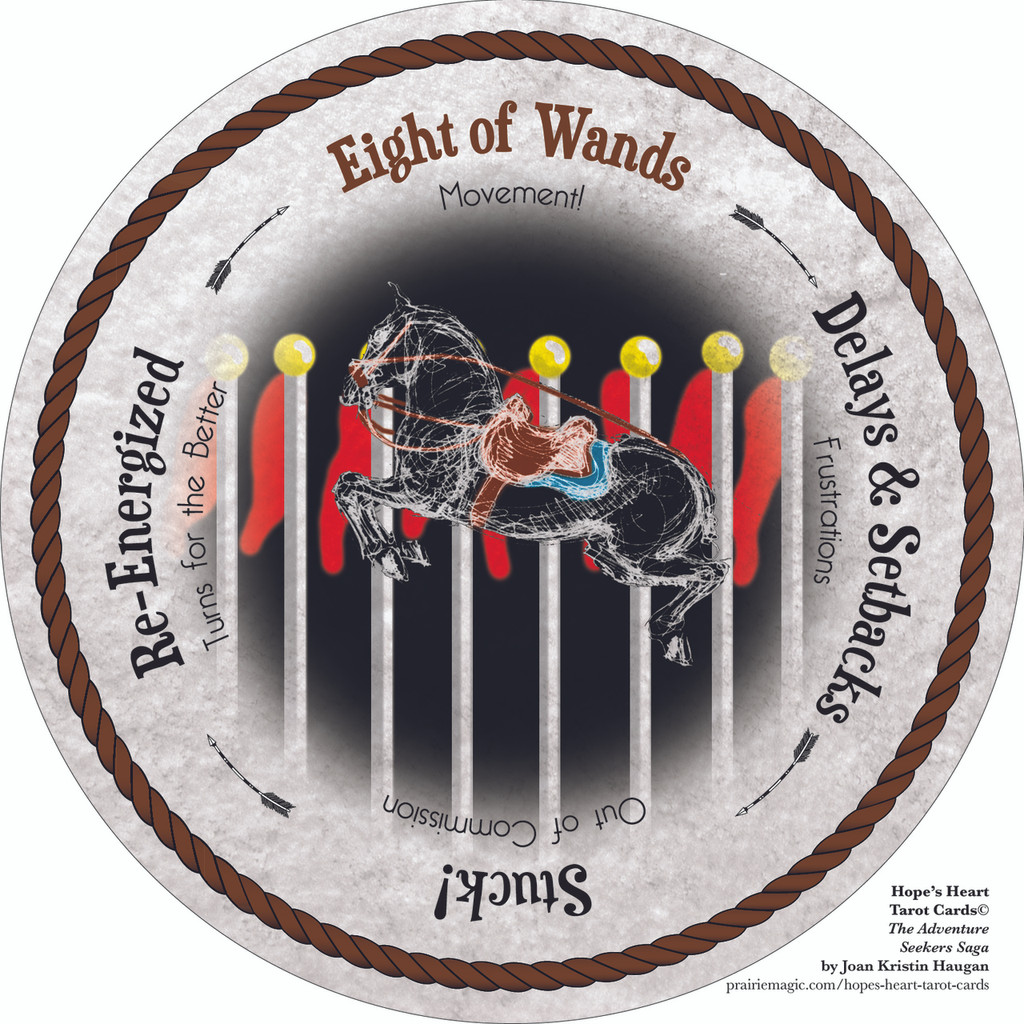 Eight of Wands- the round Hope's Heart Tarot™ deck