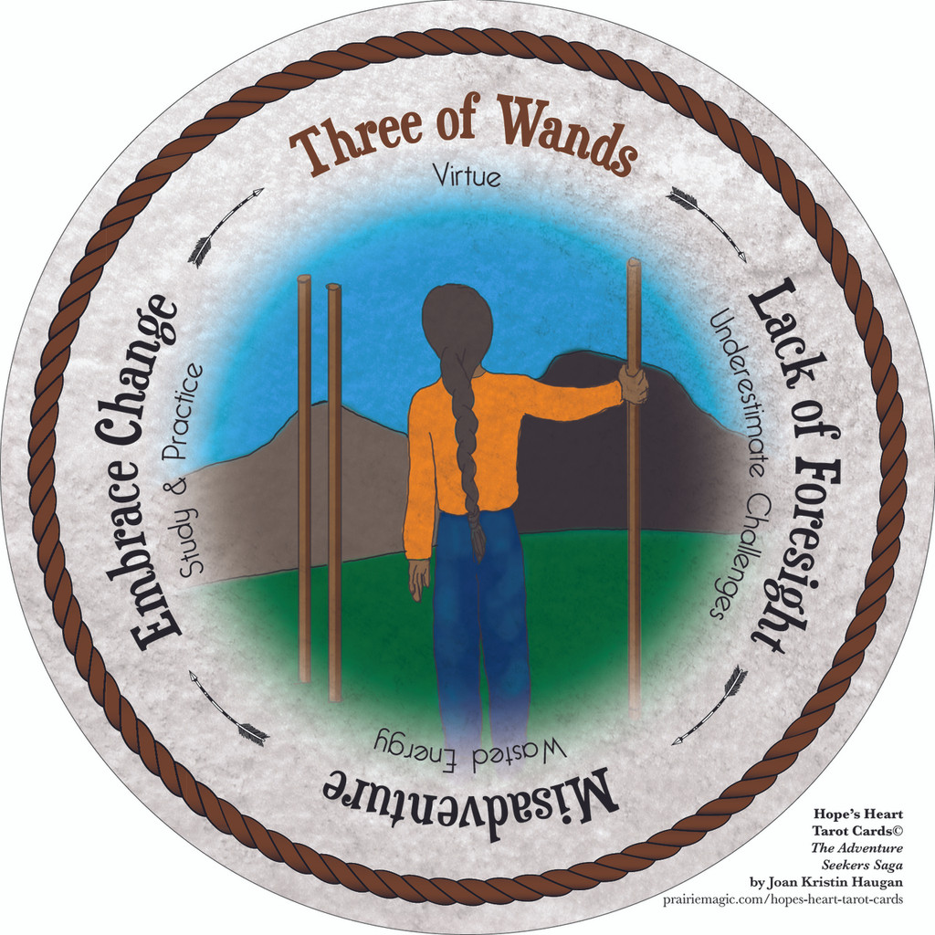 Three of Wands - the round Hope's Heart Tarot™ deck