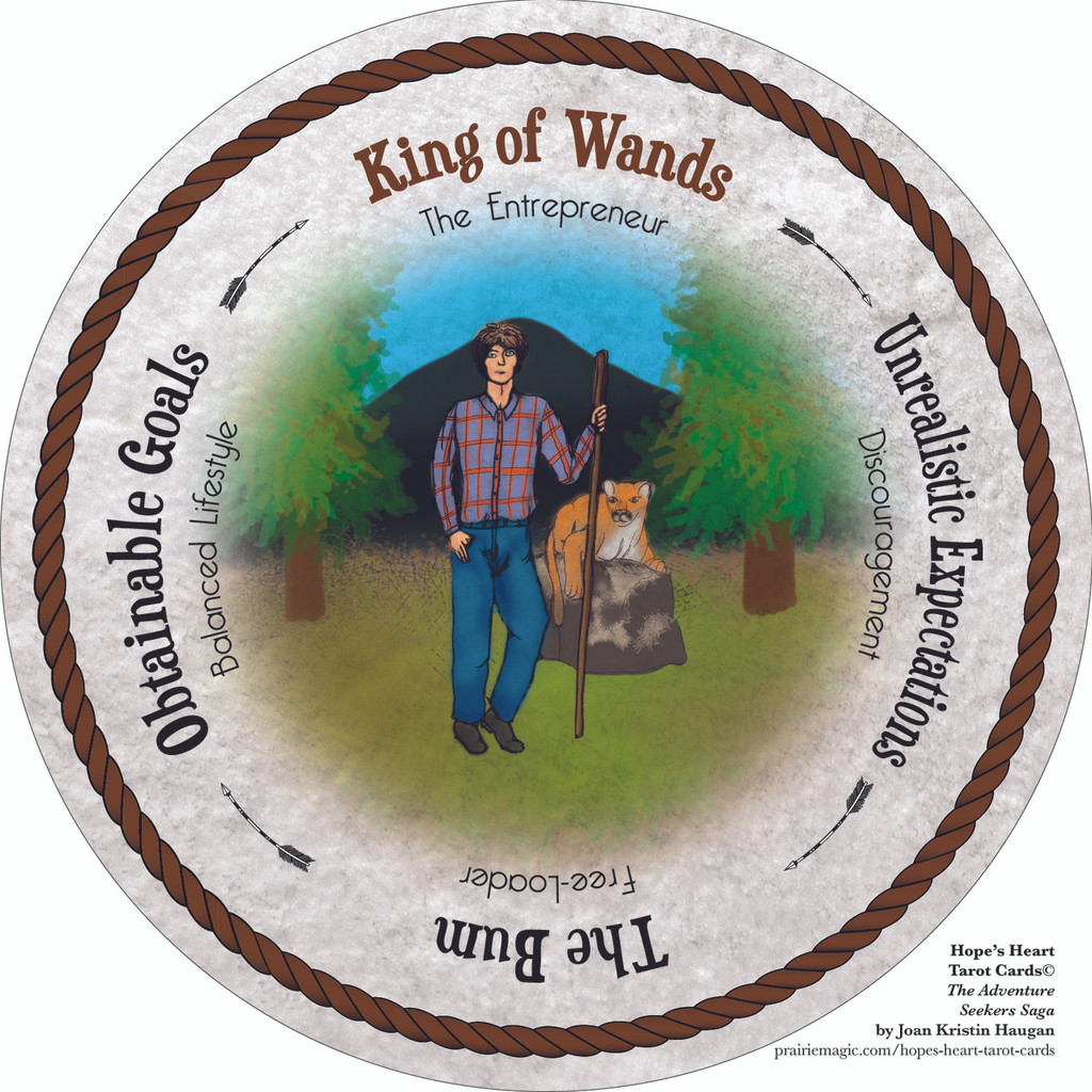 King of Wands- the round Hope's Heart Tarot™ deck