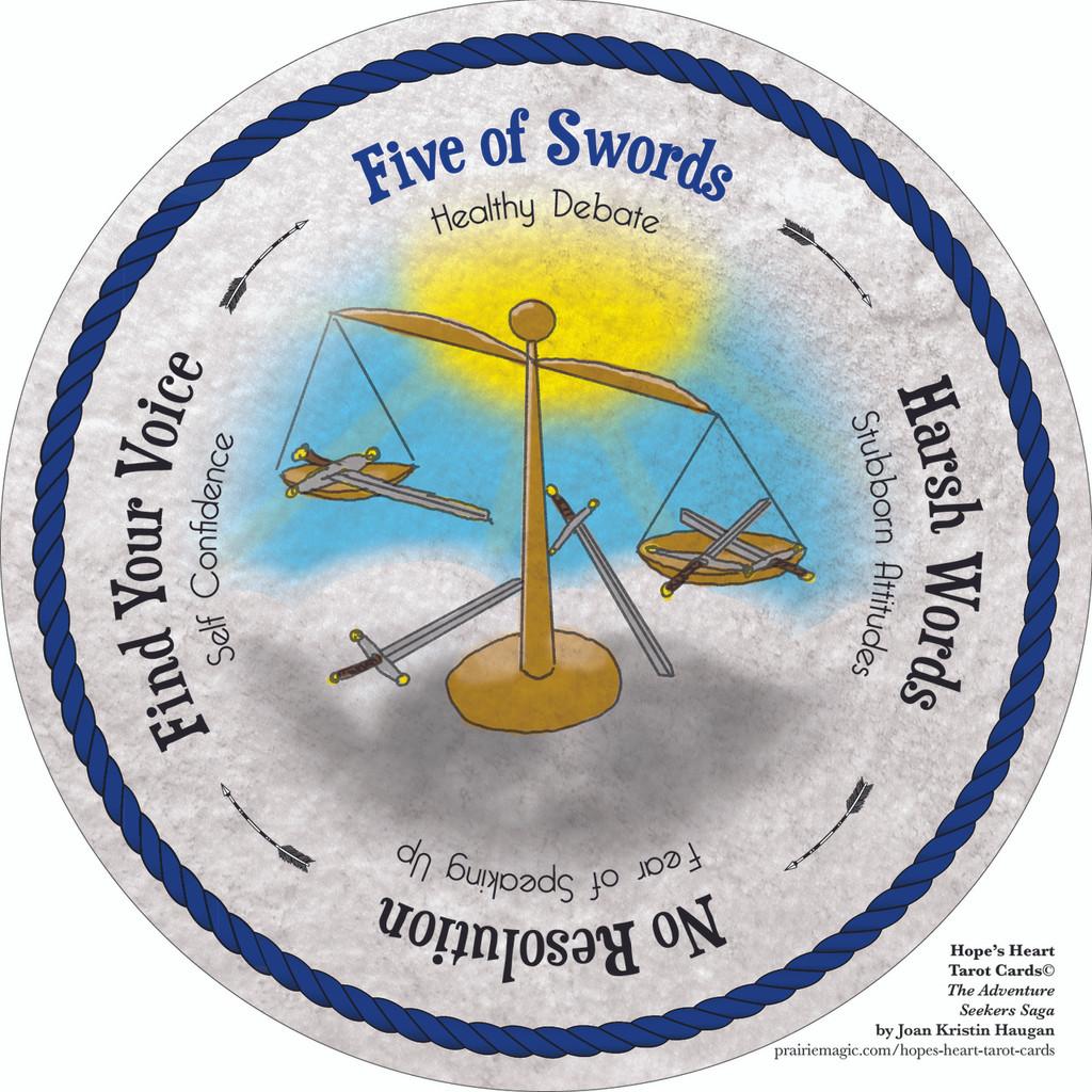 Five of Swords - the round Hope's Heart Tarot™ deck