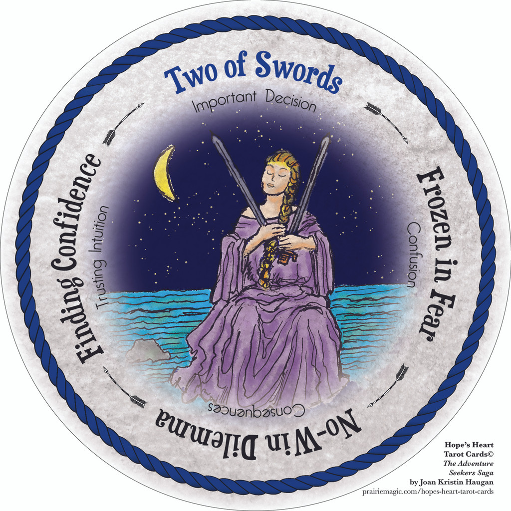 Two of Swords - the round Hope's Heart Tarot™ deck
