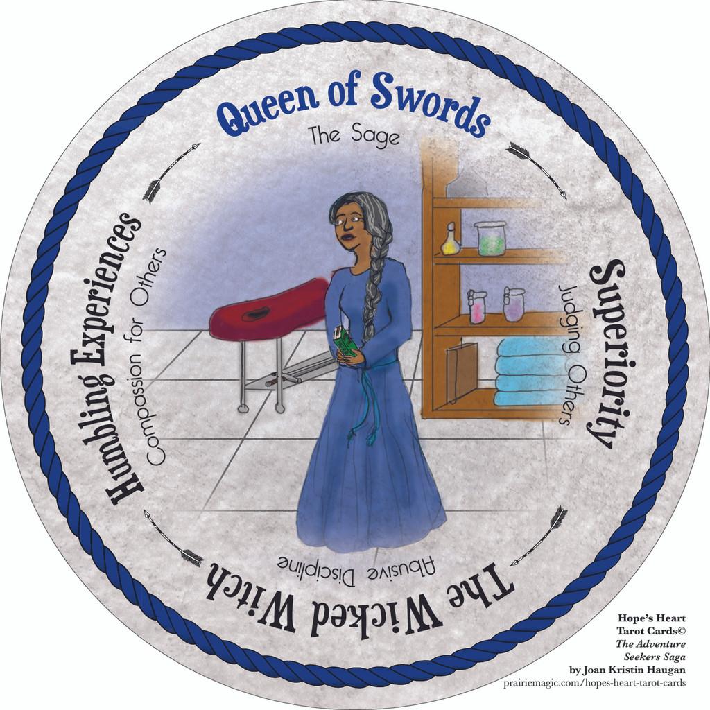 Queen of Swords - the round Hope's Heart Tarot™ deck