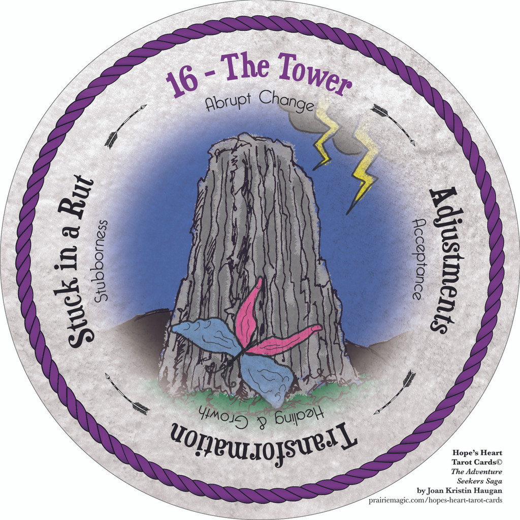 16 The Tower - the round Hope's Heart Tarot™ deck