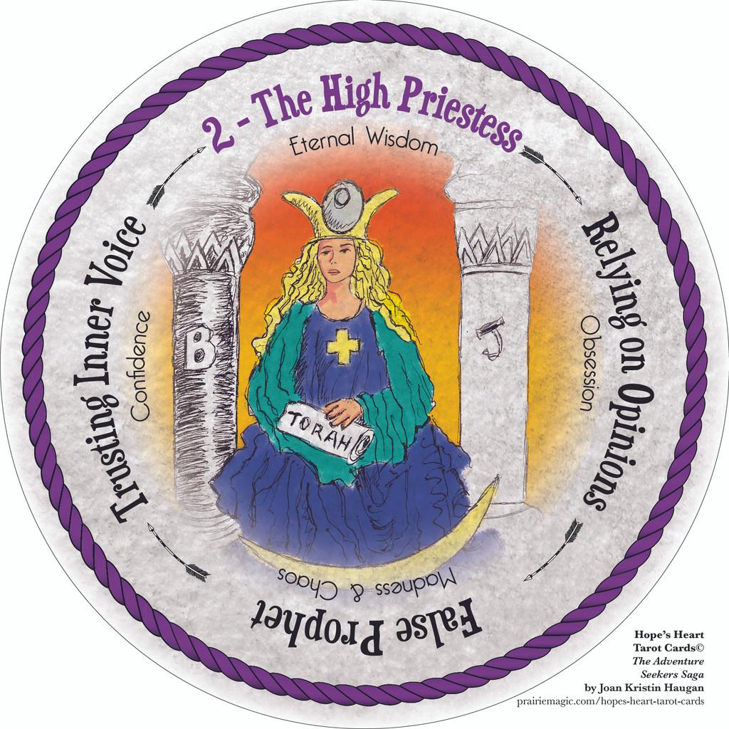 Round Tarot Card! The High Priestess. Hope's Heart Tarot™