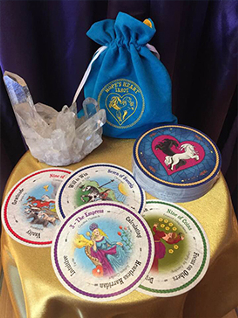 Hope's Heart Tarot™ round deck and velveteen bag