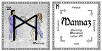 Mannaz Rune Card front and back Odin's Runes™