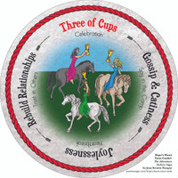 Three of Cups  - the round Hope's Heart Tarot™ deck