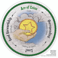 Ace of Coins- the round Hope's Heart Tarot™ deck