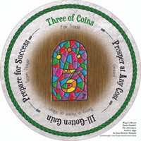 Three of Coins - the round Hope's Heart Tarot™ deck