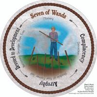 Seven of Wands- the round Hope's Heart Tarot™ deck