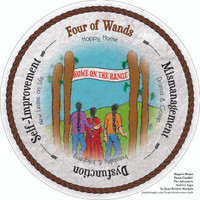 Four of Wands- the round Hope's Heart Tarot™ deck
