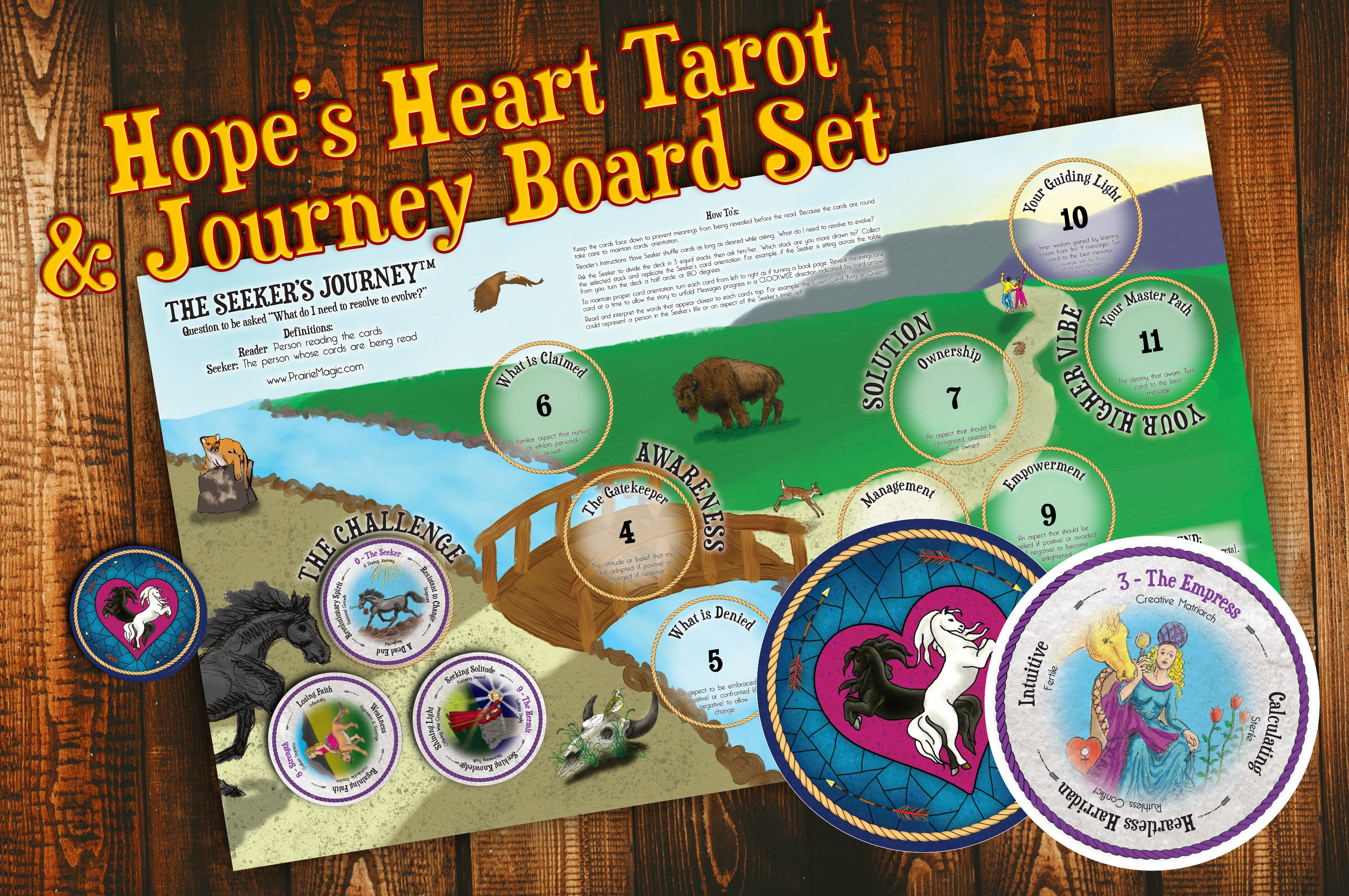 Hope's Heart Tarot™ round tarot cards and layout board