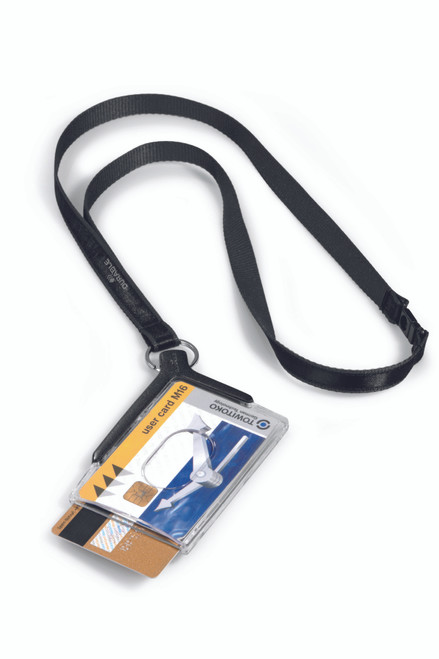 Card Holder Deluxe Duo with Lanyard, Charcoal - 10 box