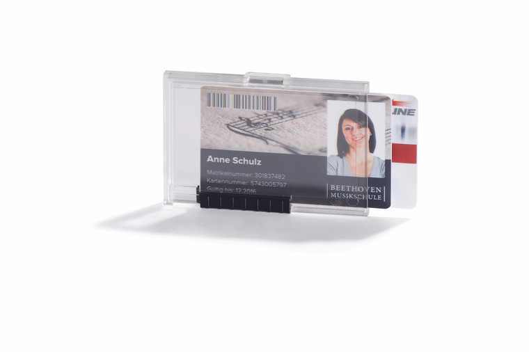 PUSHBOX Duo ID Card Holder for Two Cards, Transparent - 10 box