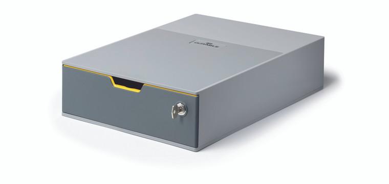 VARICOLOR 1 SAFE Drawer Desktop Storage Box with Lock, Gray/Multicolor
