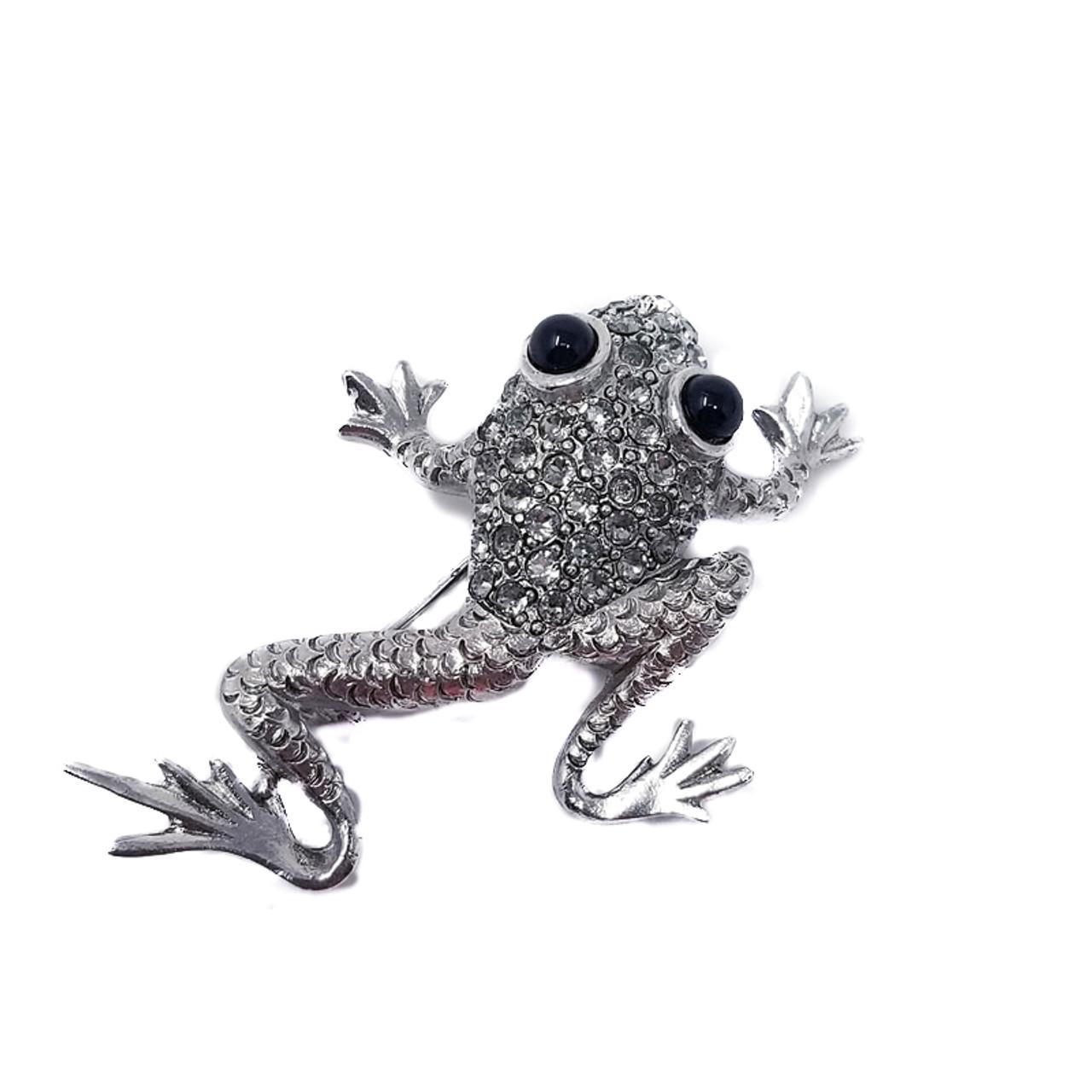 45aed76faef Oscar de la Renta Pave Swarovski Crystal Frog Brooch Pin - Vintage Loft