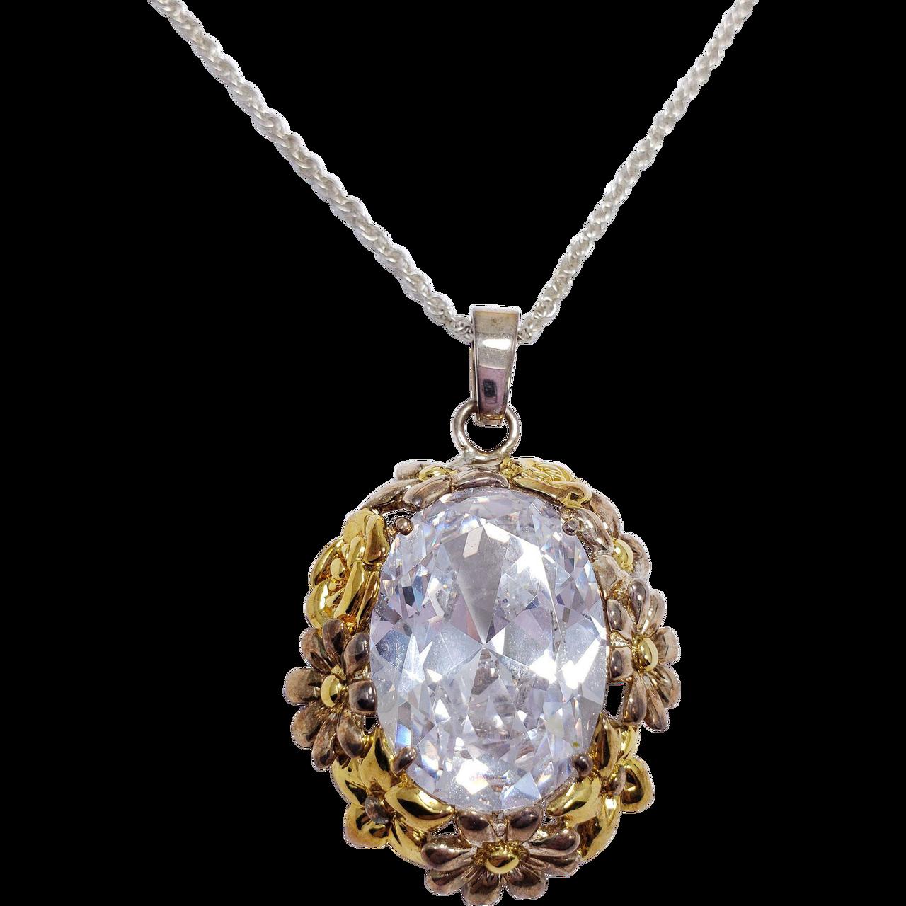 e54f3b0526b8e Pale Blue Open Back Crystal Floral Bezel Pendant on Silver Tone Fine Chain