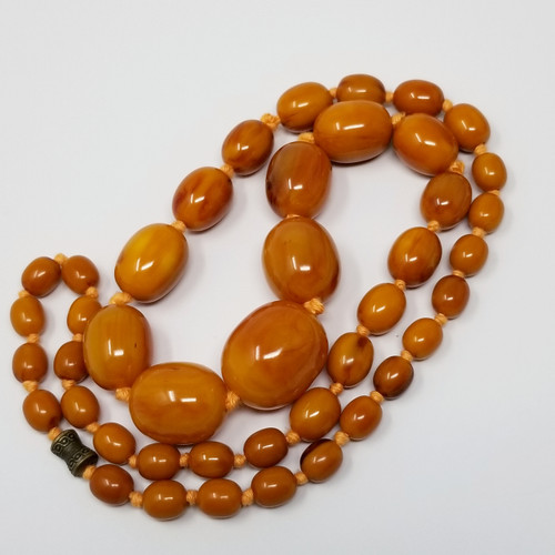 Butterscotch and Russet Bakelite Tassel Chain Necklace