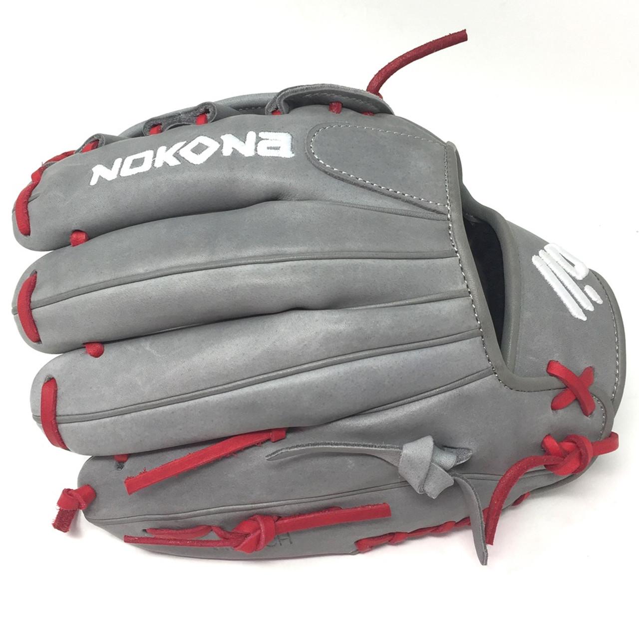 Nokona AmericanKIP Grey with Black Lace 11.5 Baseball Glove Modified Trap Web Right Handed Throw