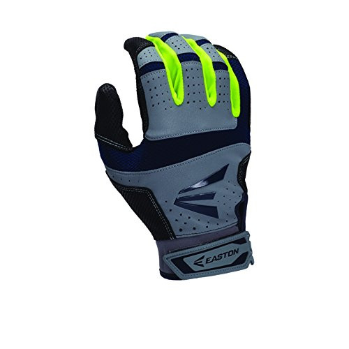 Easton HS9 Neon Batting Gloves Adult 1 Pair (Grey-Navy, Small)