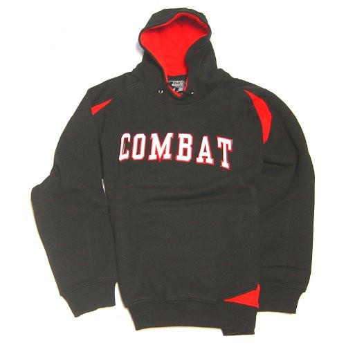Combat Sports Mens Hooded Sweatshirt (Black/Red, Medium)