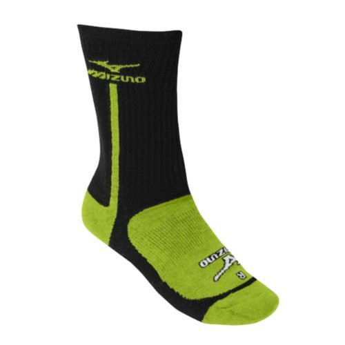 Mizuno Performance Highlighter Crew Sock (Black/Lemon, Medium)