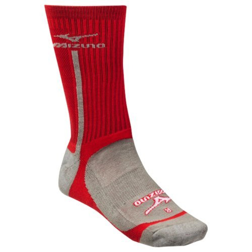 Mizuno Performance Highlighter Crew Sock (Red/Gray, Small)