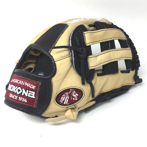 Nokona 12 Inch Bison Black Alpha Baseball Glove S-1200HB Right Hand Throw