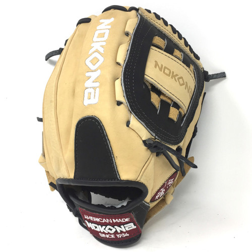 Nokona 12 Inch Bison Black Alpha Baseball Glove S-1200CB Right Hand Throw