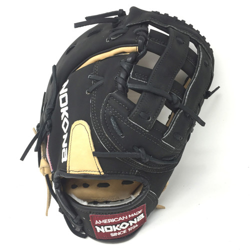 Nokona Bison 12.5 Black Alpha First Base Mitt Baseball Glove S-3HB Right Hand Throw