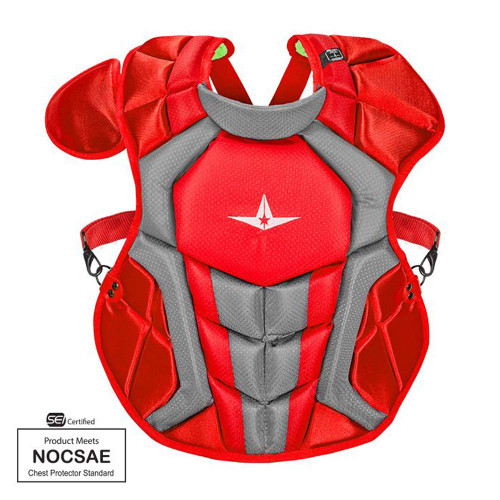 All-Star S7 Axis Chest Protector 12-16 - 15.5 Red Grey NOCSAE